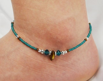 Anklet, Ankle Bracelet, Southwest Anklet Boho Anklet Turquoise Blue Anklet Brown, Western Anklet, Beaded Anklet, Foot Jewelry, Ankle Jewelry