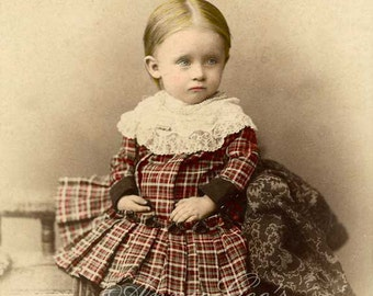 Precious Vintage Plaid Baby Hand Tinted Photograph - Instant Digital Download D197A