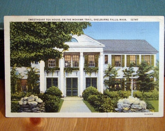 Vintage Postcard, Sweetheart Tea House, Shelburne Falls, Massachusetts 1940s Linen Paper Ephemera