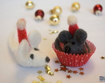 Rock and Roll - felted mice, christmas decoration, mouse, white and grey, winter novelty, gift under 20, stocking stuffer