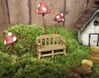 Miniature Bench - Fairy Garden Decor - Terrarium Supplies - Terrarium Decor - Terrarium Figurine. - Handmade by Gypsy Raku