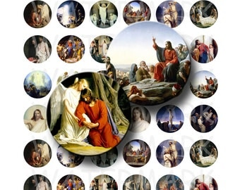 Carl Bloch - Paintings of Jesus - Digital Collage Sheet  - 1 inch Round Circles - INSTANT DOWNLOAD