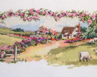 Embroidered Cross Stitch Summer Countryside Sampler (not framed)
