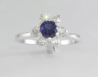 Blue Sapphire & Diamonds Ring Sterling Silver / Blue Sapphire Silver Ring