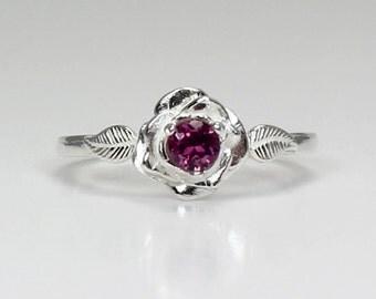 Natural Rhodolite Garnet Ring Sterling Silver / Rhodolite Garnet Silver Rose Ring