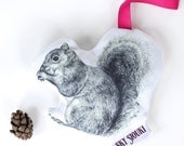 Squirrel Lavender Sachet - Navy, Pink Ribbon