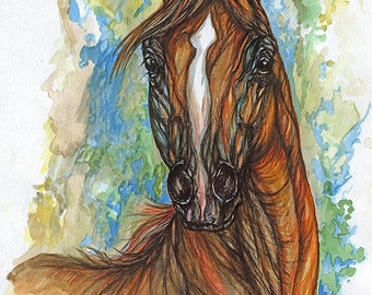 Framed original pen and watercolour painting of aChestnut arabian horse