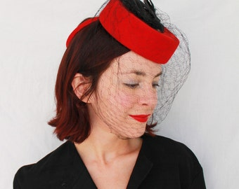 SALE / In-Stock: Vintage 1940s-Style Red Wool Felt Tilt Hat with SINGLE Vintage Faux Bird & Vintage Veiling