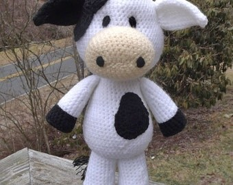 Lil' Cow Amigurumi Crochet Pattern PDF file only. Medium size