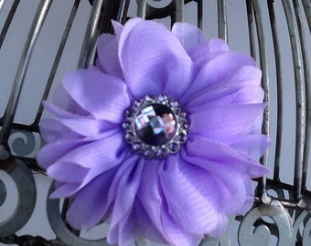 Lavender flower hair clip, girls flower hair clip hair accessory, light purple hair flower with acrylic rhinestone center, hair accessory