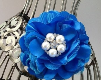Royal blue hair clip, blue satin hair flower w/fancy pearl center, hair flower, blue hair clip hair accessory flower hair clip