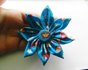 Blue Hello Kitty Fabric 8 Petal Flower Hair Clip Hair Pin