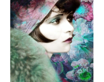 Floral flapper, digital print, photomontage, art deco, 1920 s flapper, silver screen actress, fine art, home decor, Clara Bow, wall art