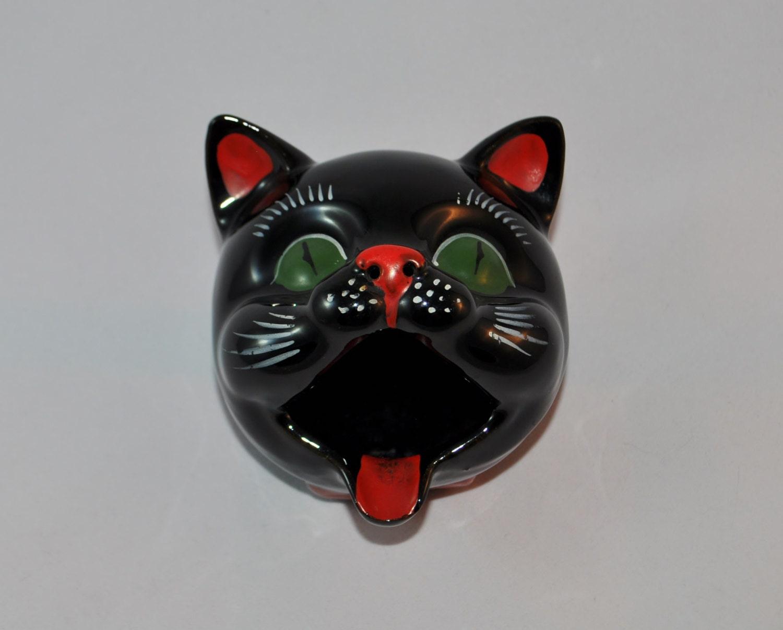 Black Cat Head Ashtray