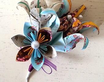 Paper Flower Origami Corsage Buttonhole Alternative Wedding Groom Bride Mink Aqua Mustard