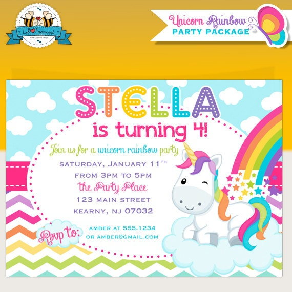 Unicorn Rainbow Birthday Party Invitation - Invite Card - Personalized invitation - Colorful Rainbow