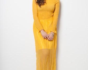 Amarillo vintage 70s silk/sheer yellow dress
