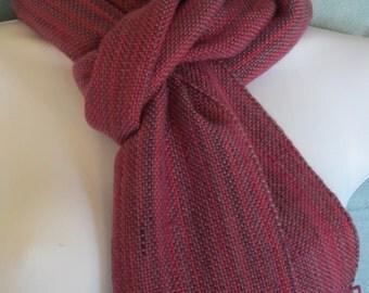 Summer Berries - Hand woven merino wool blend scarf