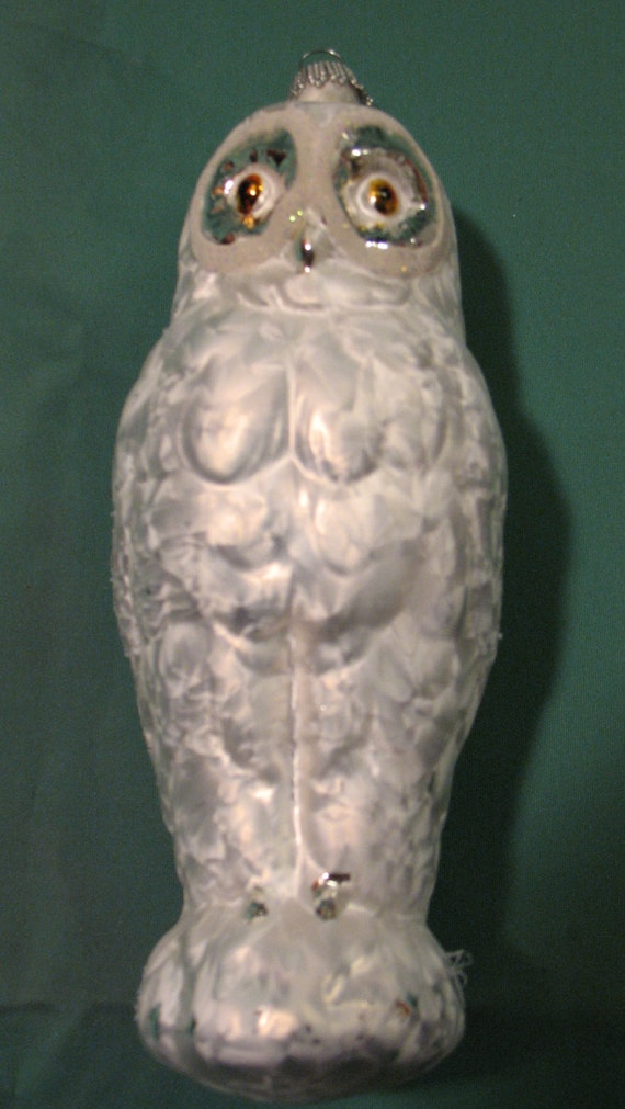vintage owl glass ornament made in europe krebs glas lauscha. Black Bedroom Furniture Sets. Home Design Ideas