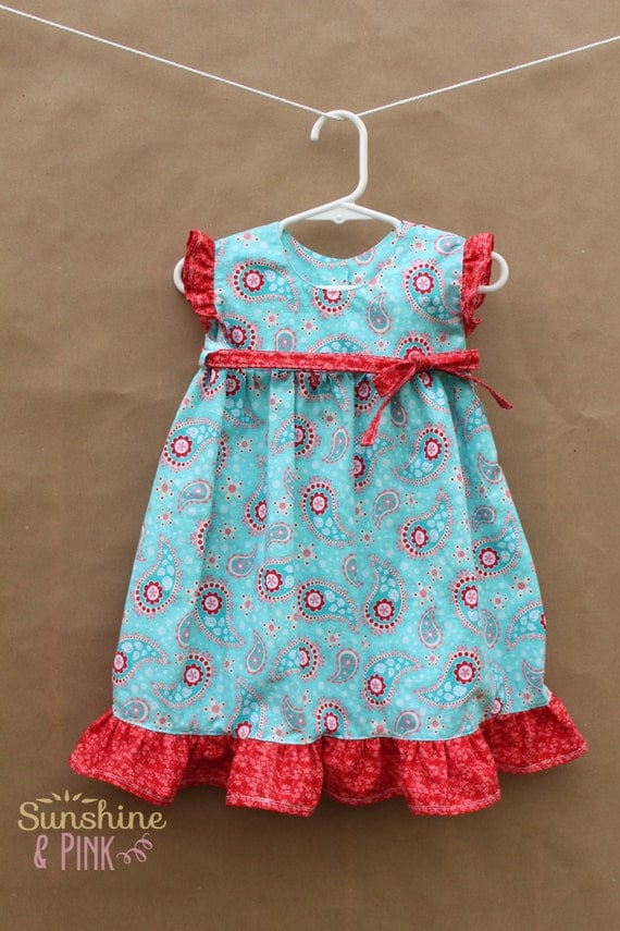 2T Blue and Red Ruffle Dress with Cap Sleeves