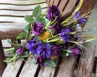 Rustic Wedding Bouquets / Fall Wedding / Country Wedding / Silk Bridal Bouquet / Purple Rustic Wedding Flowers / Silk Wedding Flowers / 4 pc