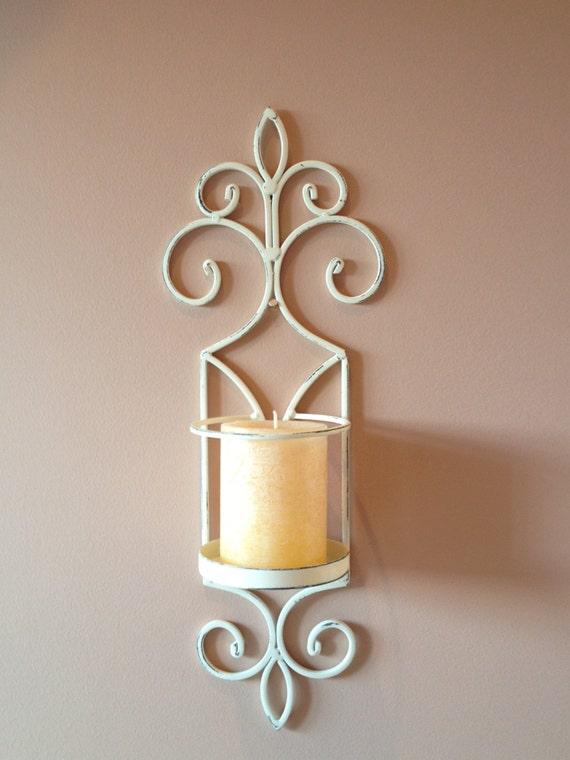 Shabby Chic White Pillar Candle Holder White by NotJustSigns