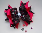 Large Valentines Day Hair Bow Pink and Black Hearts Over the Top Hair Bows