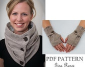 Combo Infinity Scarf and Fingerless Glove Pattern with Strap. PDF Glove Sewing Patterns.