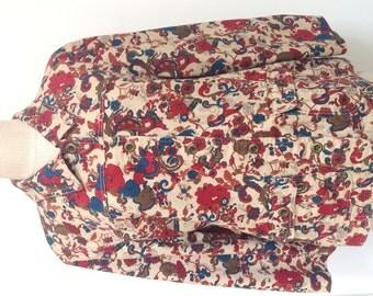 Retro Art Nouveau Boho Floral Red/Blue/Brown Print Tan Lightweight Fall Jacket w/ Pockets Sz. XL