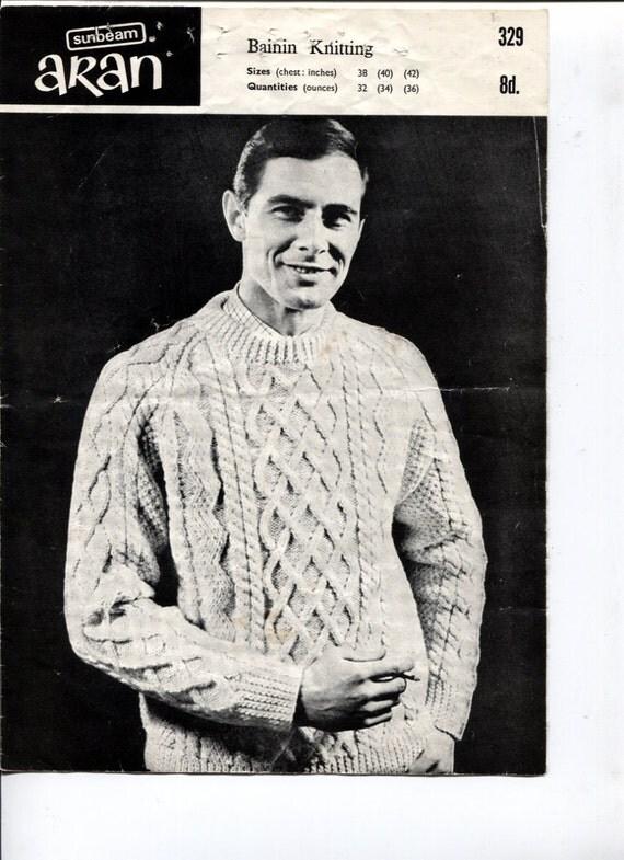 Aran Knitting Patterns For Men : Aran Sweater for Men Knitting Pattern Bainin by OnceUponAnHeirloom