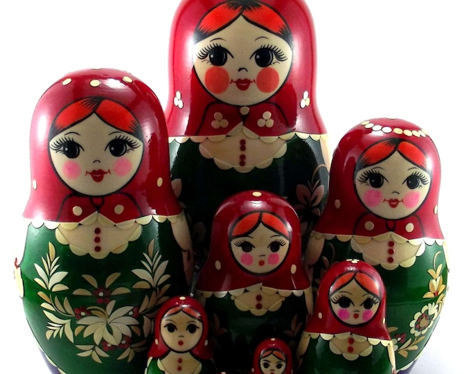 Nesting Dolls 11 pcs Russian matryoshka doll Babushka for kids set Wooden stacking authentic genuine toys Birthday gift for mom Inlaid