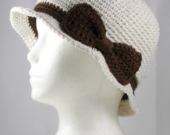 Cloche Hat in Natural with Brown Band and Bow for Cancer Patients