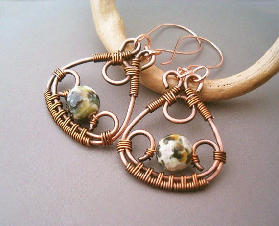 Wire Wrapped Earrings Copper And Green Fire Crackle Agate