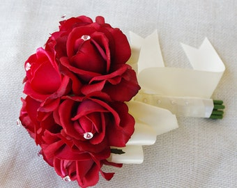 Silk Wedding Bouquet Red and Crystals - Natural Touch Roses Silk Bridal Bouquet