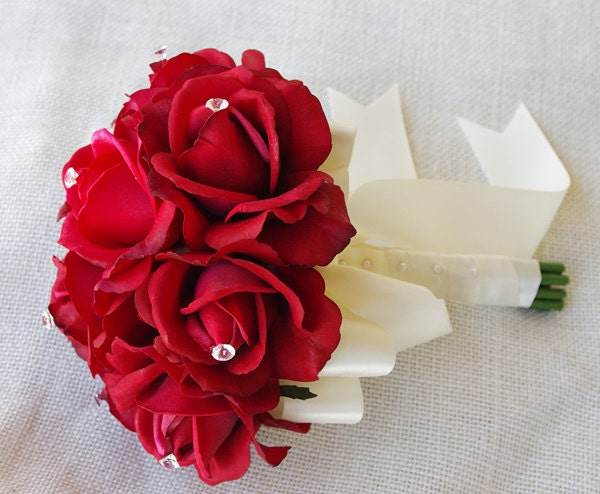 Silk Wedding Bouquet Red And Crystals Natural Touch Roses