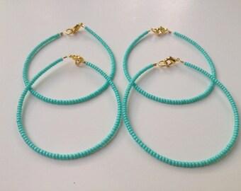Bridesmaid jewelry, minimalist turquoise bracelet, aqua bracelet, lobster clasp bracelet, seed bead bracelet, beaded bracelet, minimalist