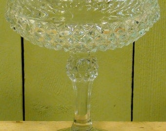 Indiana Glass Diamond Point Pattern - Tall Ftd Compote Catalog No 7811 circa 1978