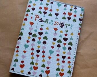 Leather Passport Cover - Travel wallet - Passport cover - Passport Holder - Romantic Cover - Passport case - Hearts