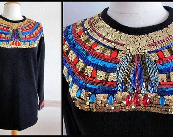 Cleopatra Jeweled Neckline // Silk Angora Tunic Sweater // Vintage 80s 1980s // made in Hong Kong