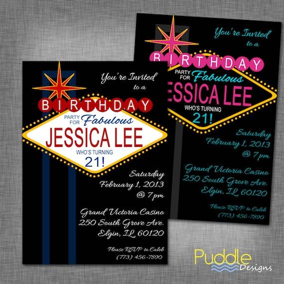 21st Birthday Vegas Party Invitation