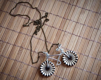 Long necklace with sweet wire & buttons bicycle, handmade bike, sporty style
