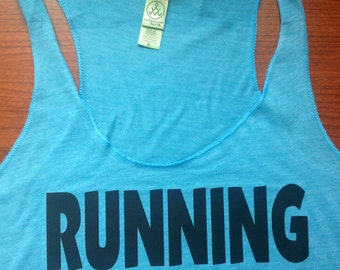 RUNNING IS STUPID Fitted Tank, workout jersey racer back tank top