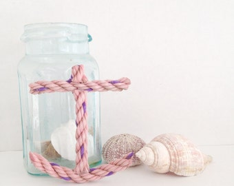 Anchor Ornament - recycled lobster rope - pink