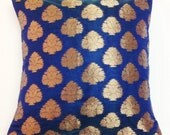Electric Blue and Gold Decorative Silk Pillow Cover - Handmade Throw Pillow - Silk Cushion Cover  12x12 inches