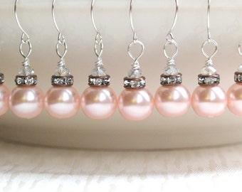 Blush Earrings, Bridesmaid Earrings, Pink Copper Brown Rhinestone, Crystal Blush Pink Earrings, Beaded Jewelry, Dangle Earrings