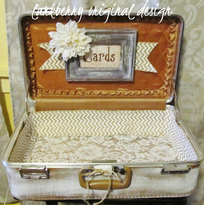 shabby chic wedding card suitcase  rustic wedding card