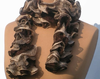 Knitted Sashay Ruffled Scarf. Curly Ruffle Scarf .