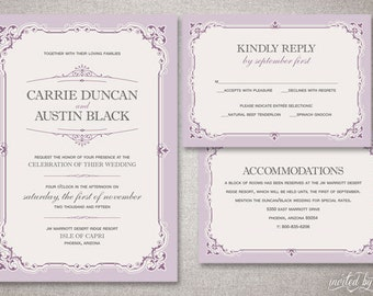 "Vintage ""Carrie"" Wedding Invitation Suite - Classic Traditional Elegant Ornate Purple Invitations - Digital Printable / Printed Invite"