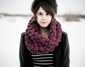Oversized Chunky Fig Puff Stitch Cowl - knitbrooks