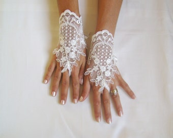 Ivory  Wedding gloves  french lace gloves bridal gloves lace gloves fingerless gloves ivory gloves free ship 231